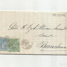 Sellos: CIRCULADA Y ESCRITA 1876 DE GARRUCHA VERA ALMERIA A BARCELONA FRANQUEO TRANSICION. Lote 217436130