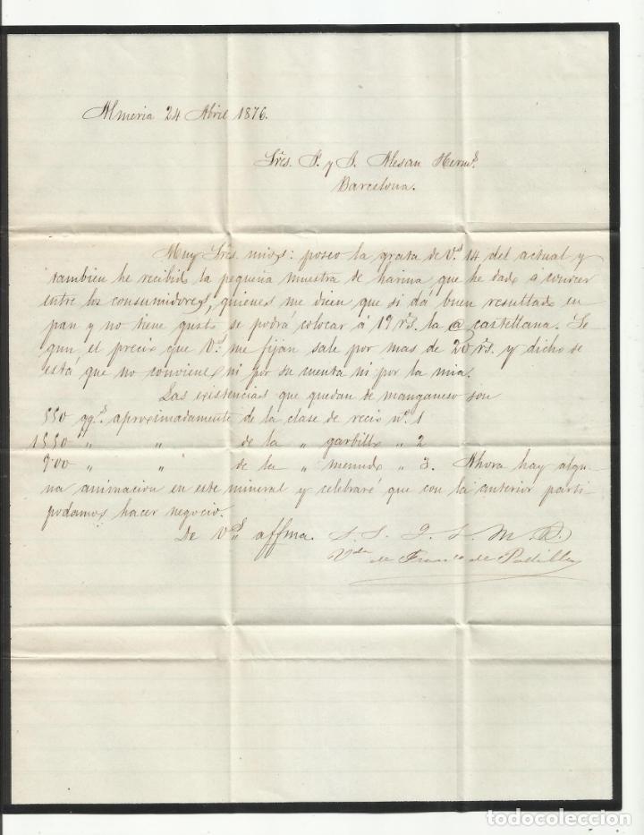 Sellos: circulada Y ESCRITA VENTA HARINA Y EXISTENCIAS MANGANESO 1876 DE ALMERIA A BARCELONA - Foto 2 - 217456988