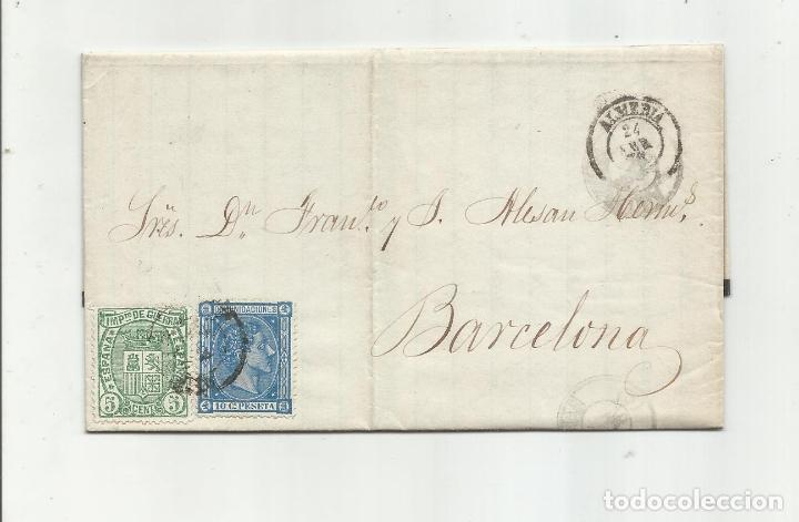 CIRCULADA Y ESCRITA VENTA HARINA Y EXISTENCIAS MANGANESO 1876 DE ALMERIA A BARCELONA (Sellos - España - Alfonso XII de 1.875 a 1.885 - Cartas)