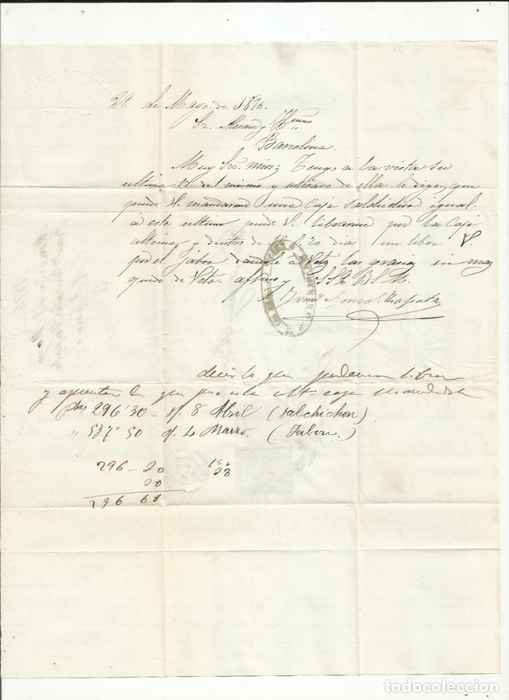 Sellos: circulada Y ESCRITA PEDIDO JABON I UNA CAJA DE SALCHICHON 1876 DE ALMERIA A BARCELONA - Foto 2 - 217457570