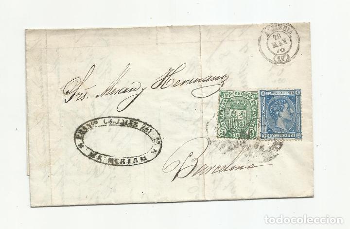 CIRCULADA Y ESCRITA PEDIDO JABON I UNA CAJA DE SALCHICHON 1876 DE ALMERIA A BARCELONA (Sellos - España - Alfonso XII de 1.875 a 1.885 - Cartas)