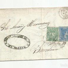 Sellos: CIRCULADA Y ESCRITA PEDIDO JABON I UNA CAJA DE SALCHICHON 1876 DE ALMERIA A BARCELONA. Lote 217457570