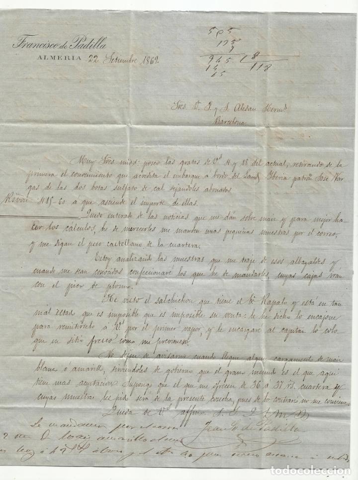 Sellos: circulada Y ESCRITA PRECIOS MAIZ Y SALCHICHON EN MAL ESTADO 1869 DE ALMERIA A BARCELONA - Foto 2 - 217458323