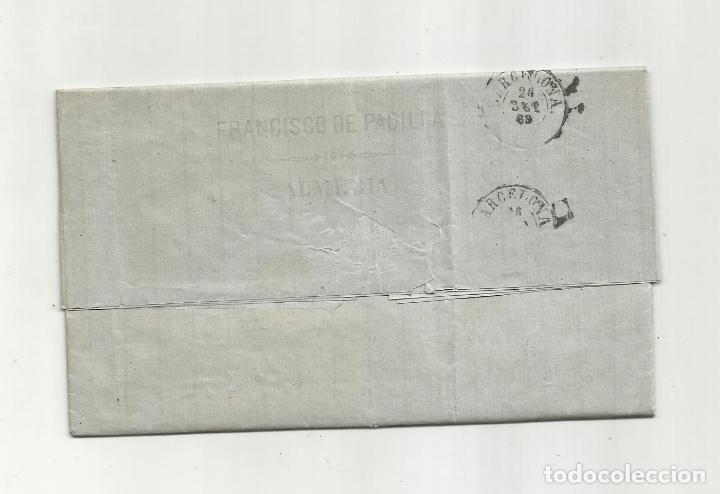 Sellos: circulada Y ESCRITA PRECIOS MAIZ Y SALCHICHON EN MAL ESTADO 1869 DE ALMERIA A BARCELONA - Foto 3 - 217458323