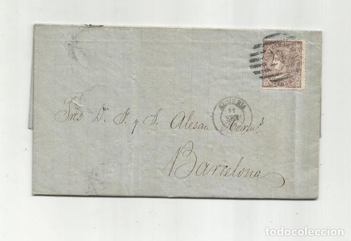 CIRCULADA Y ESCRITA PRECIOS MAIZ Y SALCHICHON EN MAL ESTADO 1869 DE ALMERIA A BARCELONA (Sellos - España - Alfonso XII de 1.875 a 1.885 - Cartas)
