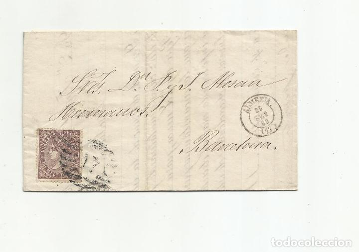 CIRCULADA Y ESCRITA VENTA JABON 1869 DE ALMERIA A BARCELONA (Sellos - España - Alfonso XII de 1.875 a 1.885 - Cartas)