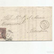 Sellos: CIRCULADA Y ESCRITA VENTA JABON 1869 DE ALMERIA A BARCELONA. Lote 217458632