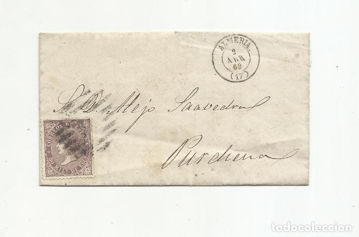 ENVUELTA CIRCULADA 1869 DE ALMERIA A PURCHENA (Sellos - España - Alfonso XII de 1.875 a 1.885 - Cartas)