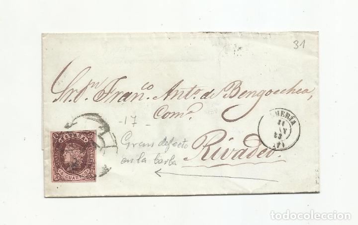 ENVUELTA CIRCULADA 1863 DE ALMERIA A RIVADEO LUGO RUEDA CARRETA 17 (Sellos - España - Alfonso XII de 1.875 a 1.885 - Cartas)