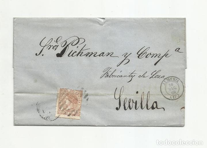 ENVUELTA CIRCULADA 1868 DE ALMERIA A SEVILLA (Sellos - España - Alfonso XII de 1.875 a 1.885 - Cartas)