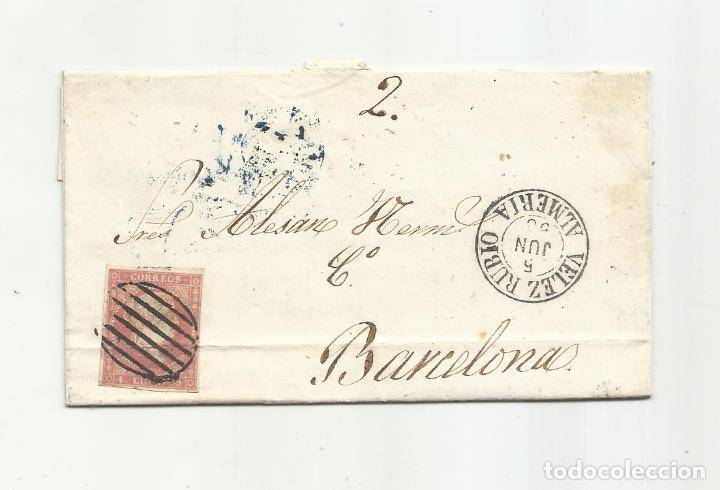 CIRCULADA Y ESCRITA 1858 DE VELEZ RUBIO ALMERIA A BARCELONA (Sellos - España - Alfonso XII de 1.875 a 1.885 - Cartas)