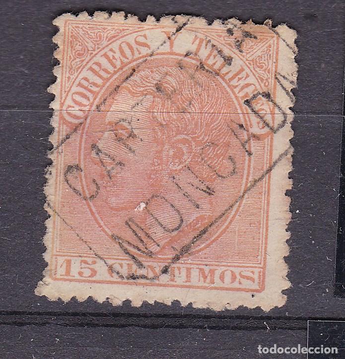 ALFONSO XII EDIFIL 210 MATASELLOS CARTERÍA MONCADA (BARCELONA). (Sellos - España - Alfonso XII de 1.875 a 1.885 - Usados)
