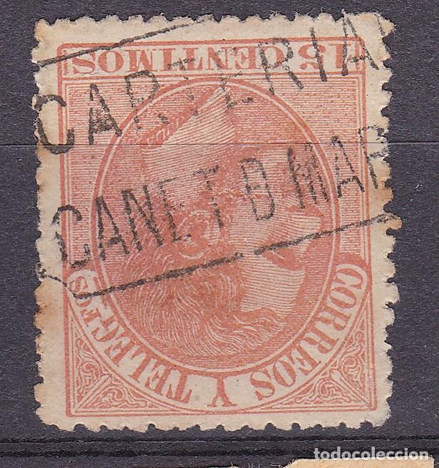 ALFONSO XII EDIFIL 210 MATASELLOS CARTERÍA CANET DE MAR (BARCELONA). (Sellos - España - Alfonso XII de 1.875 a 1.885 - Usados)