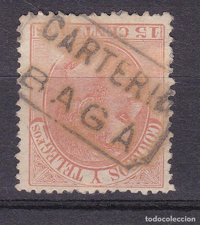ALFONSO XII EDIFIL 210 MATASELLOS CARTERÍA BAGA (BARCELONA). (Sellos - España - Alfonso XII de 1.875 a 1.885 - Usados)