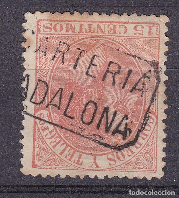 ALFONSO XII EDIFIL 210 MATASELLOS CARTERÍA BADALONA (BARCELONA). (Sellos - España - Alfonso XII de 1.875 a 1.885 - Usados)