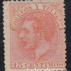 Sellos: ESPAÑA.- SELLO Nº 210 ALFONSO XII 15 CENTIMOS NUEVO CON CHARNELA DESCENTRADO.. Lote 240766970