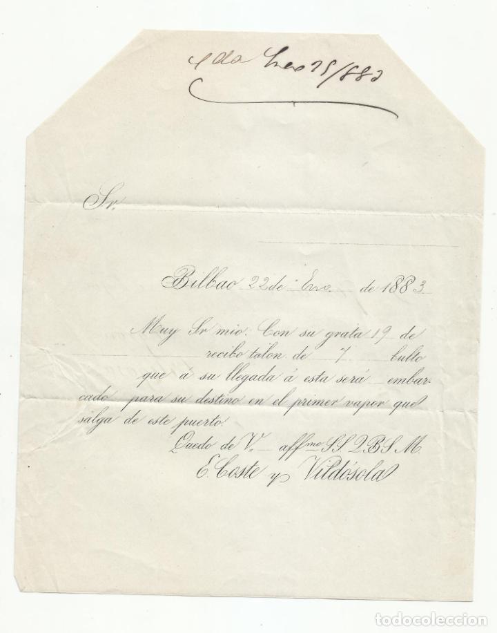 Sellos: circulada Y impresa 1883 de bilbao a ortigosa por logroño - Foto 2 - 218721825