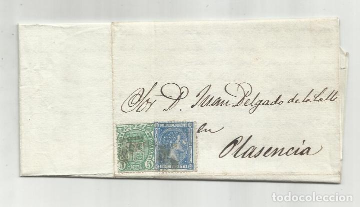 CIRCULADA Y ESCRITA 1875 DE MADRID A PLASENCIA (Sellos - España - Alfonso XII de 1.875 a 1.885 - Cartas)