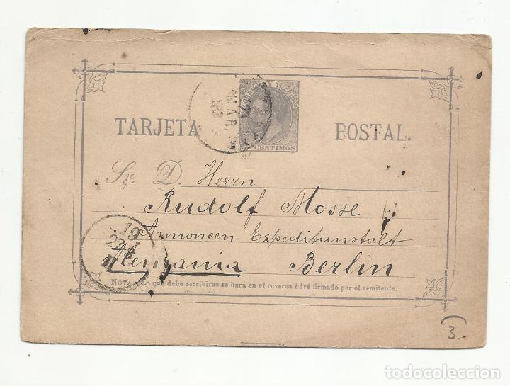 ENTERO POSTAL EDIFIL 11 CIRCULADA 1883 DE CARTAGENA MURCIA A BERLIN ALEMANIA (Sellos - España - Alfonso XII de 1.875 a 1.885 - Cartas)