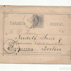Francobolli: ENTERO POSTAL EDIFIL 11 CIRCULADA 1883 DE CARTAGENA MURCIA A BERLIN ALEMANIA. Lote 218756198