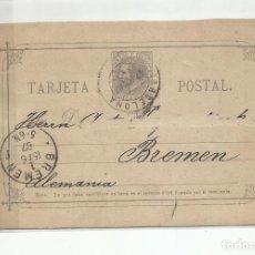 Sellos: ENTERO POSTAL EDIFIL 11 CIRCULADA 1887 DE BARCELONA A BREMEN ALEMANIA. Lote 218756283