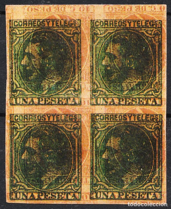 ALFONSO XII VARIEDAD DOBLE IMPRESIÓN UNA PESETA Y 10 C DE PESO BLOQUE DE 4 SIN DENTAR (Sellos - España - Alfonso XII de 1.875 a 1.885 - Nuevos)