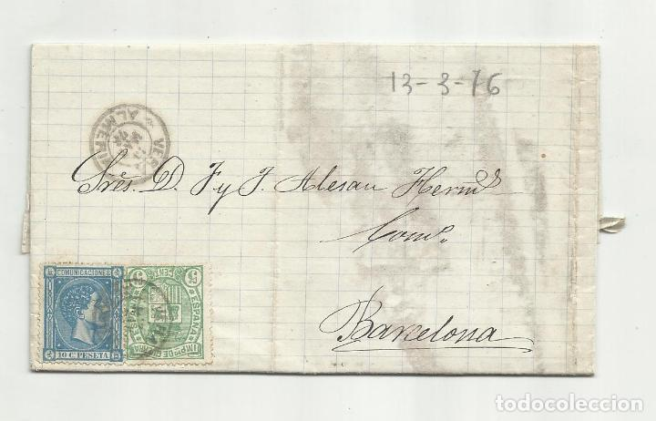 CIRCULADA Y ESCRITA ENVIO JABONCILLO 1876 DE GARRUCHA VERA ALMERIA A BARCELONA (Sellos - España - Alfonso XII de 1.875 a 1.885 - Cartas)