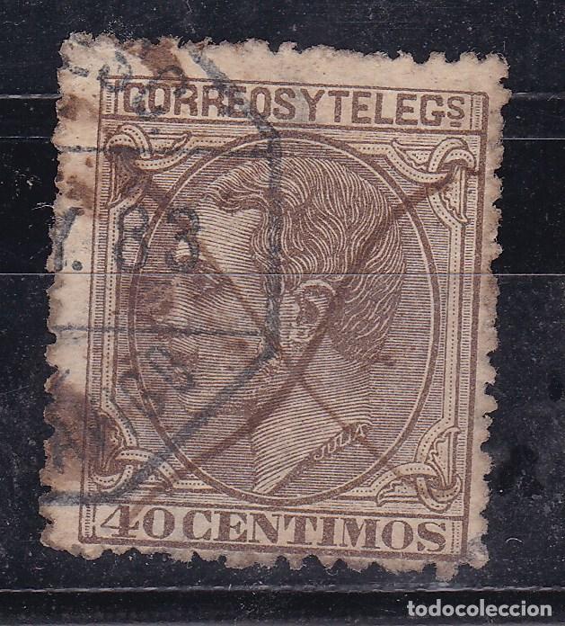 CL12-31- ALFONSO XII 40 CTS DOBLE MATASELLOS AMBULANTE A VIGO Y CRUZ TINTA (Sellos - España - Alfonso XII de 1.875 a 1.885 - Usados)
