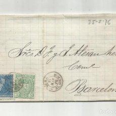Sellos: CIRCULADA Y ESCRITA FEDERICO CERDA 1876 DE GARRUCHA VERA ALMERIA A BARCELONA. Lote 221811441