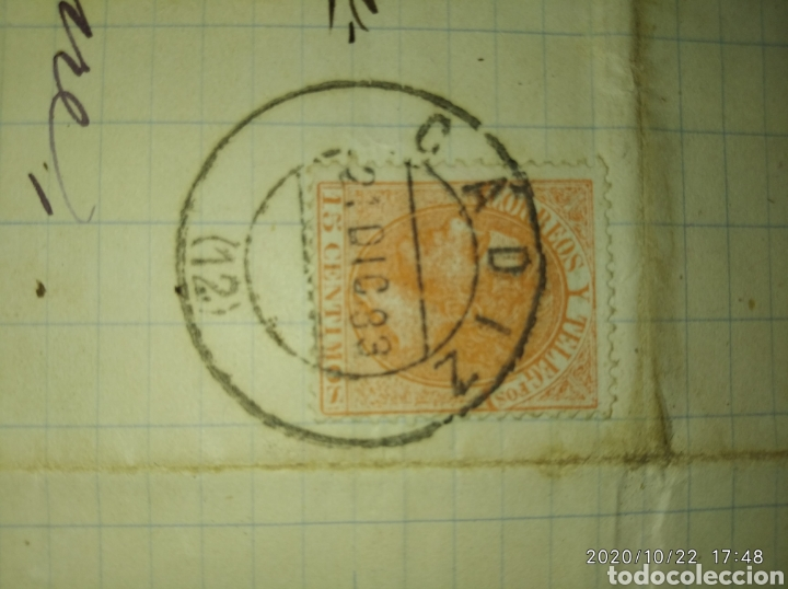Sellos: Carta de Cádiz a San Juan de Anzo-Lalin (Pontevedra) con sello 15 cts naranja 1883 de Alfonso XII. - Foto 2 - 221953188