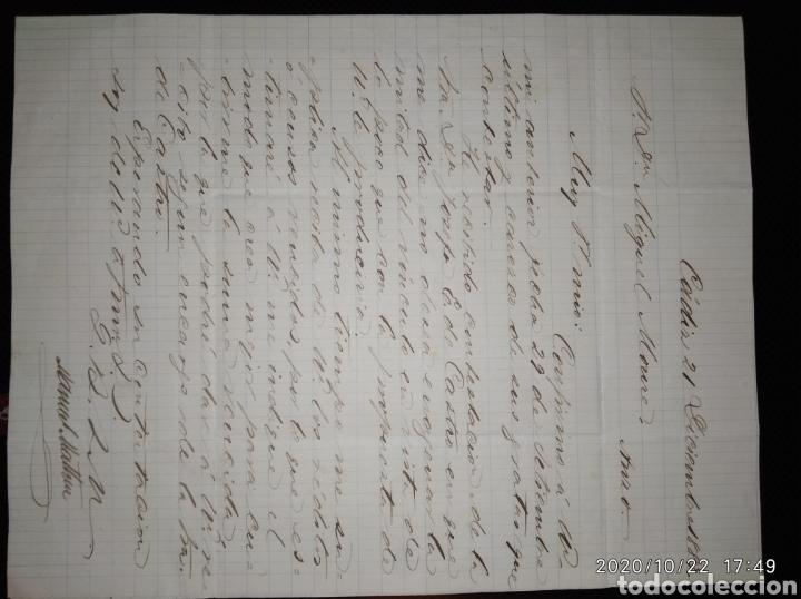 Sellos: Carta de Cádiz a San Juan de Anzo-Lalin (Pontevedra) con sello 15 cts naranja 1883 de Alfonso XII. - Foto 3 - 221953188