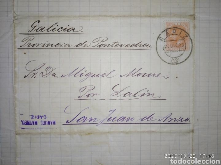 CARTA DE CÁDIZ A SAN JUAN DE ANZO-LALIN (PONTEVEDRA) CON SELLO 15 CTS NARANJA 1883 DE ALFONSO XII. (Sellos - España - Alfonso XII de 1.875 a 1.885 - Cartas)