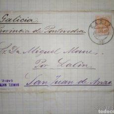 Sellos: CARTA DE CÁDIZ A SAN JUAN DE ANZO-LALIN (PONTEVEDRA) CON SELLO 15 CTS NARANJA 1883 DE ALFONSO XII.. Lote 221953188