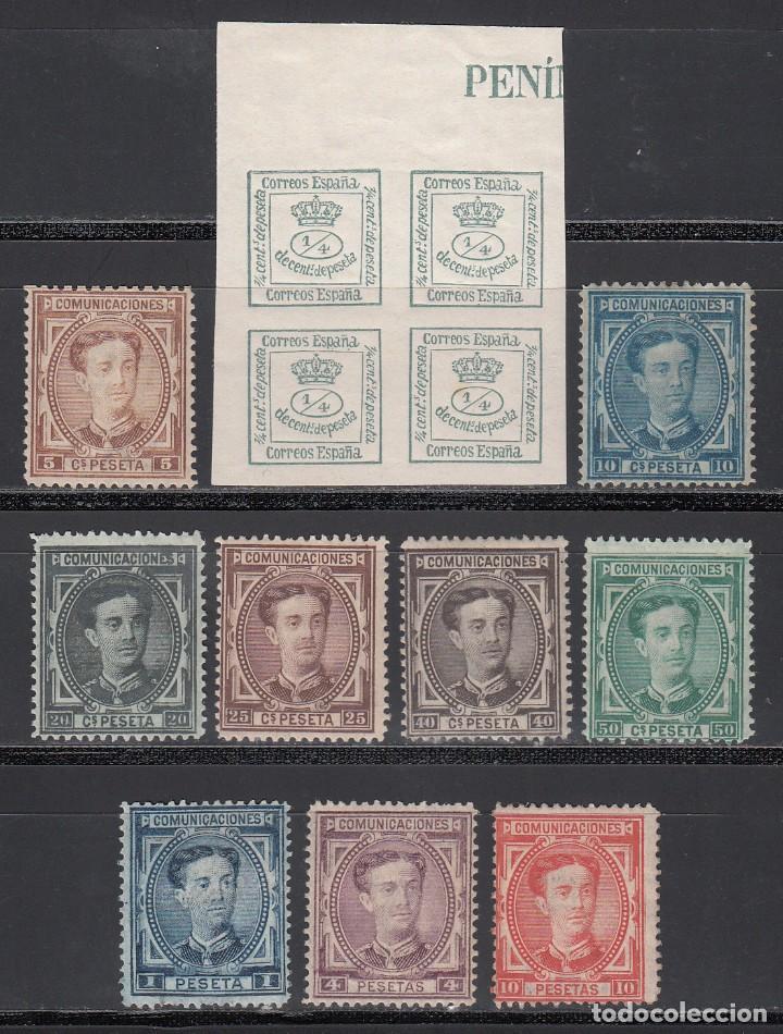 ESPAÑA, 1876 EDIFIL Nº 173 / 182 /*/, CORONA REAL Y ALFONSO XII. SERIE COMPLETA 10 VALORES (Sellos - España - Alfonso XII de 1.875 a 1.885 - Nuevos)