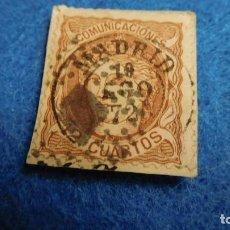 Sellos: 1870. SELLO DE 12 CUARTOS, USADO, ISABEL II. Lote 223030587