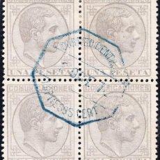 Sellos: BLOQUE DE 4 ALFONSO XII EDIFIL 197 CHARNELA. Lote 223130775