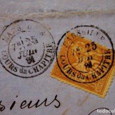 Sellos: ANTIGUA CARTA, MANUSCRITO COMERCIAL, 1881, MARSELLA, VALENCIA, DROGUERIE ESSENCES FINES, PAUL TISNE. Lote 224420611