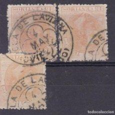 Timbres: GG13- ALFONSO XII EDIFIL 210 MATASELLOS TRÉBOL POLA DE LAVIANA (OVIEDO). X 3. Lote 230792135
