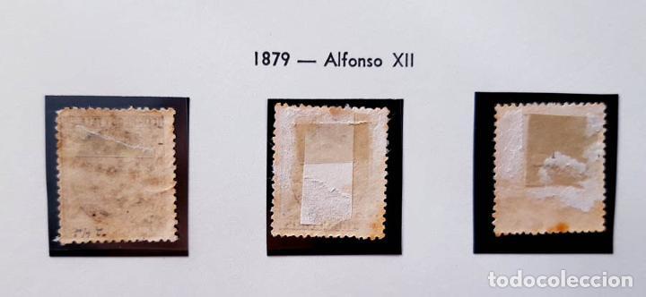 Sellos: Edifil 200, 201 y 202, 2, 5 y 10 cent, con charnela, Alfonso XII, 1879 - Foto 2 - 232091260