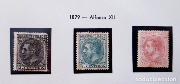 EDIFIL 200, 201 Y 202, 2, 5 Y 10 CENT, CON CHARNELA, ALFONSO XII, 1879 (Sellos - España - Alfonso XII de 1.875 a 1.885 - Usados)