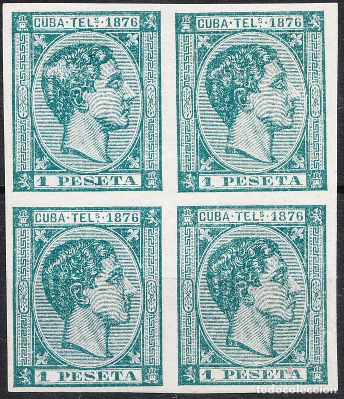 CUBA TELÉGRAFOS EDIFIL 35 BLOQUE DE 4 ALFONSO XII (Sellos - España - Alfonso XII de 1.875 a 1.885 - Nuevos)