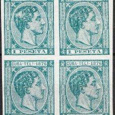 Sellos: CUBA TELÉGRAFOS EDIFIL 35 BLOQUE DE 4 ALFONSO XII. Lote 234046105