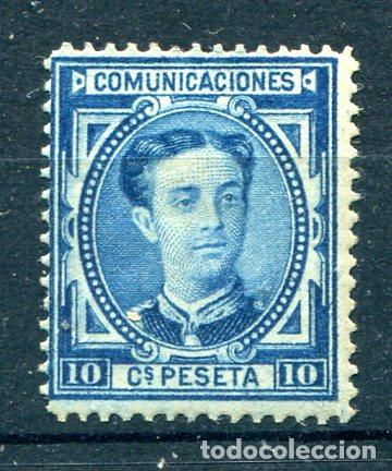 EDIFIL 175. 10 CTS ALFONSO XII AÑO 1876. NUEVO CON GOMA Y GRUESO FIJASELLOS. (Sellos - España - Alfonso XII de 1.875 a 1.885 - Nuevos)