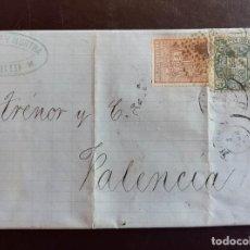 Sellos: 1875, CARTA A VALENCIA, CON EDIFIL 153 Y 154. Lote 235905790