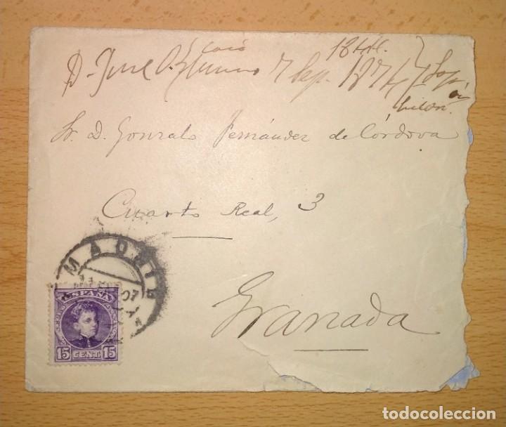 CARTA CIRCULADA MADRID-GRANADA. SELLO ALFONSO XIII.AÑO 1907 (Sellos - España - Alfonso XII de 1.875 a 1.885 - Cartas)