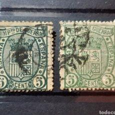 Sellos: (ESPAÑA)(1875)(EDIF. 154) IMPUESTO DE GUERRA. VARIEDAD DE COLOR. Lote 240910885