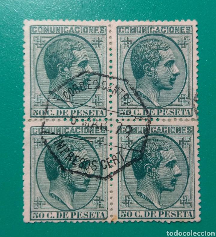 ESPAÑA. 1878. EDIFIL 196. ALFONSO XII. BLOQUE DE 4. (Sellos - España - Alfonso XII de 1.875 a 1.885 - Usados)