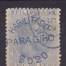 Francobolli: SS6-CLÁSICOS COLONIAS FILIPINAS ALFONSO XII . HABILITADO PARA GIRO 0.20 $. Lote 242225760