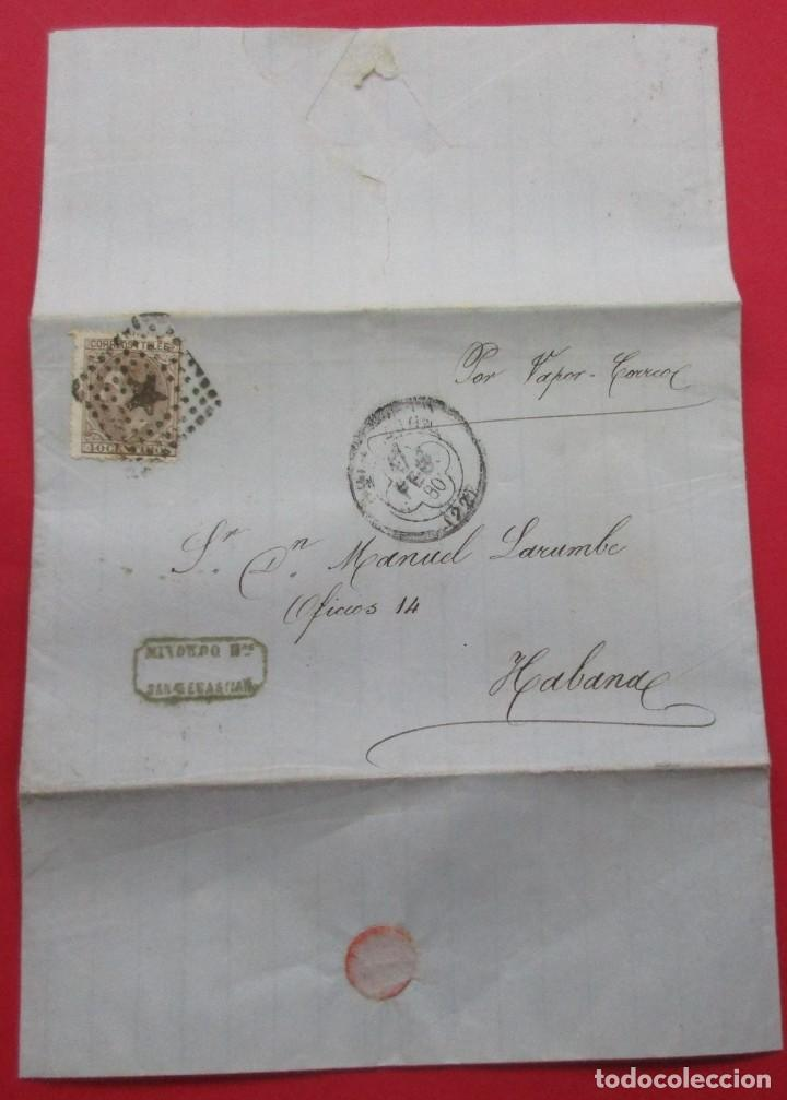 CARTA 1880. SAN SEBASTIÁN, LA HABANA. (Sellos - España - Alfonso XII de 1.875 a 1.885 - Cartas)