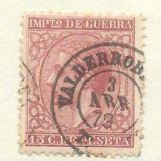 Sellos: ALFONSO XII EDIFIL 188 15 CENTIMOS. TERUEL FECHADOR DE VALDERROBLES 1879. Lote 243256950